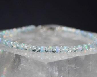 Opal Bracelet with Aquamarine, Ethiopian Opal Bracelet, Aquamarine Bracelet, March Birthstone, Dainty Gemstone Beaded Bracelet