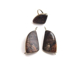 Jasper set, Pink Jasper Set, Jasper ring, Jasper earrings, boho style set #176 Free shipping