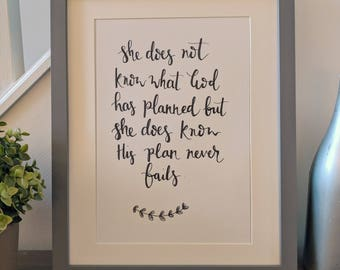 She does not know... song lyrics calligraphy