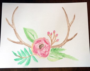 Watercolor Painting - Floral Antlers