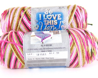 Pink Camo - I Love This Yarn worsted weight variegated 100 % acrylic - 2400