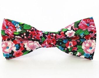 Multicolored Floral Bow Tie | cotton bowtie | flower bowtie | black bow tie | pink bow tie | green bow tie | floral bowties | love flowers