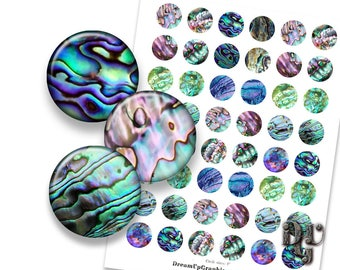 "SEASHELL  bottlecap images 1.5"" 1.25"" 1"" 30 mm 20 mm circle ABALONE Paua SEASHELL Digital Collage Sheet Instant Download circle pendant C028"