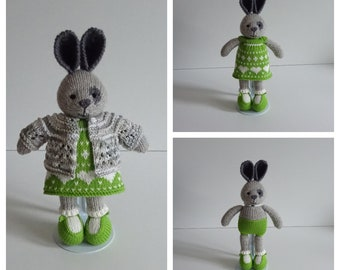 Little Grey Bunny in Green