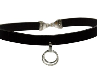 Choker BECRUX Collar Necklace SM Gothic Ring of O. Leather O-Ring BDSM Slave Fetish Master Sub Dom 70009
