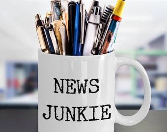 Gifts for Journalists Journalist Mug New Junkie Ceramic Coffee Mug - Editor Coffee Mug - Reporter Mug - Political Mug - Funny Mugs
