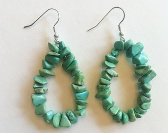 Turquoise magnesite nugget loops