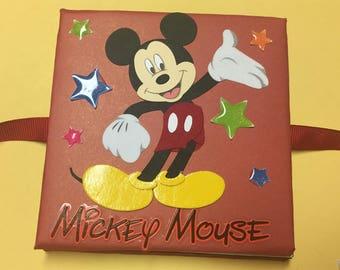 Mickey mouse mini accordion memory pocket photo album, handmade