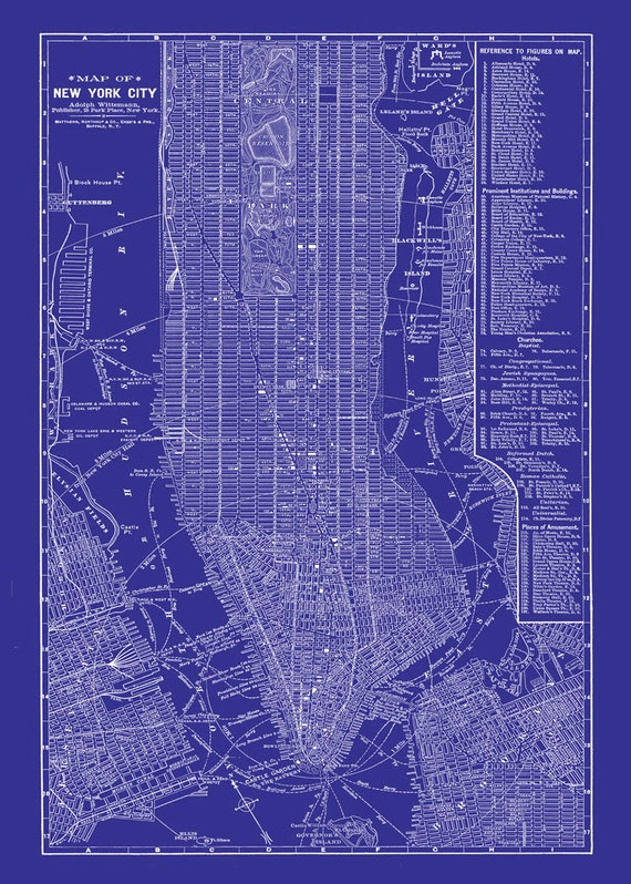 New york city map blueprint 1885 map of new york newark malvernweather Gallery