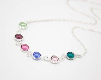 Grandmother's Jewelry, Crystal Birthstone Grandmother Necklace Sterling Silver, Choose your Birthstone Colors