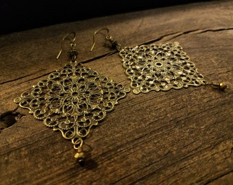 Boho Earrings, 3 1/2 inches, Filigree Earrings, Pendant Earrings, Bronze Earrings, Antique Brass Earrings