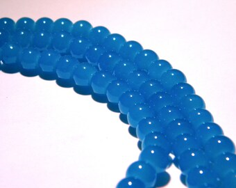 "50 beads glass light - 6 mm - way ""jade"" - bright turquoise - PG64"