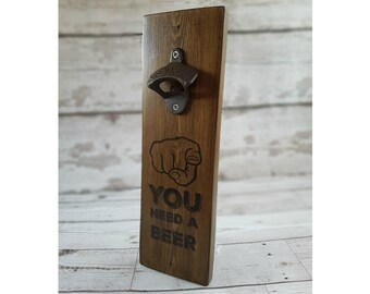 bottle opener wall mount.reclaimed wood bottle opener.fathers day gift.man cave sign.gift for men.gift for boyfriend.unique gifts for men