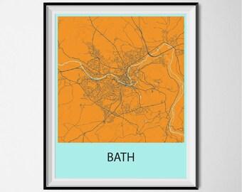 Bath Map Poster Print - Orange and Blue
