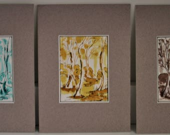 Set of ACEO original artworks six colours mounted and ready to frame
