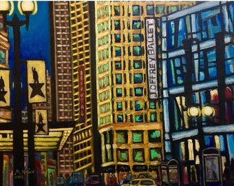 Chicago painting, chicago skyline, joffrey ballet, city painting, downtown chicago, dance art, dance painting,colorful chicago art, meg hein