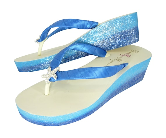 Ivory Flops Blue Heel Beach Wedding Flip Wedges white for amp; Starfish Royal Ombre Light Blue or in Glitter OnHd8dU4q