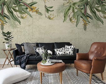 "Tropical Leaves & Flowers Wallpaper Geometric Southeast Asia Wall Mural Light Green Background Army Green Summer Khaki Wall Decor 55.5""x40"""