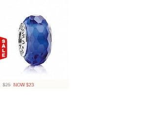 Sale -  Authentic Pandora Navy Fascination Murano Glass Bead Charm