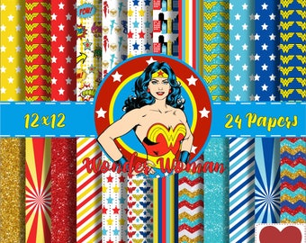 Wonder Woman Digital Paper Kit digital Mulher Maravilha