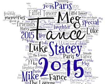 Personalised Word Art - Map of France Design - A4 Print or Digital File