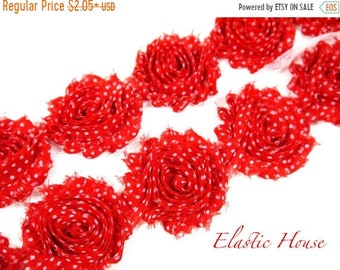"SALE 30% OFF 2.5"" PRINTED Shabby Rose Trim - Red White Dots  - Christmas Flowers - Red Chiffon Trim - Hair Accessories Supplies"
