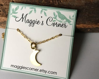 50% OFF Dainty Moon Necklace, Brass Necklace, Simple Necklace, Charm Necklace