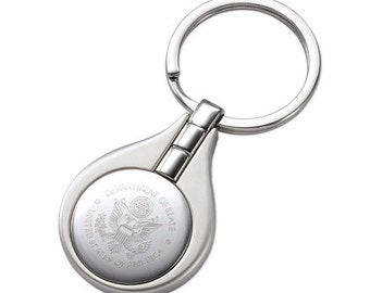 Personalized Satin Silver Circle Keychain Engraved Free