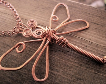 "Copper Hand Sculpted Dragonfly Necklace  ""Paula""  OOAK"