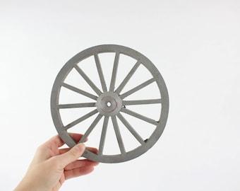 Vintage Gray Metal Spoke Toy Wagon Wheel