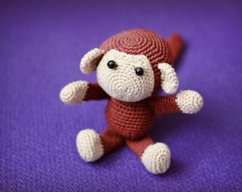 Crochet amigurumi animals Plush monkey Stuffed toy Crochet toy Stuffed monkey Monkey toy Child gift Crochet monkey Monkey amigurumi