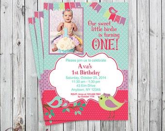 Little Birdie Photo Birthday Invitation - Digital File or Printed
