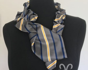 RivAgo tie necklace in grey, white, navy and yellow