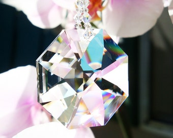 Crystal Suncatcher, Chakra Rainbow Swarovski Crystal Sun Catcher, Hanging Crystals, Prism Suncatcher
