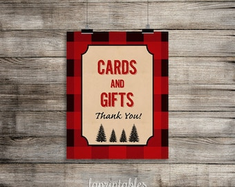 Lumberjack Cards and Gifts Sign, Red Flannel Shower Sign, Baby Shower Sign, Birthday,  INSTANT PRINTABLE
