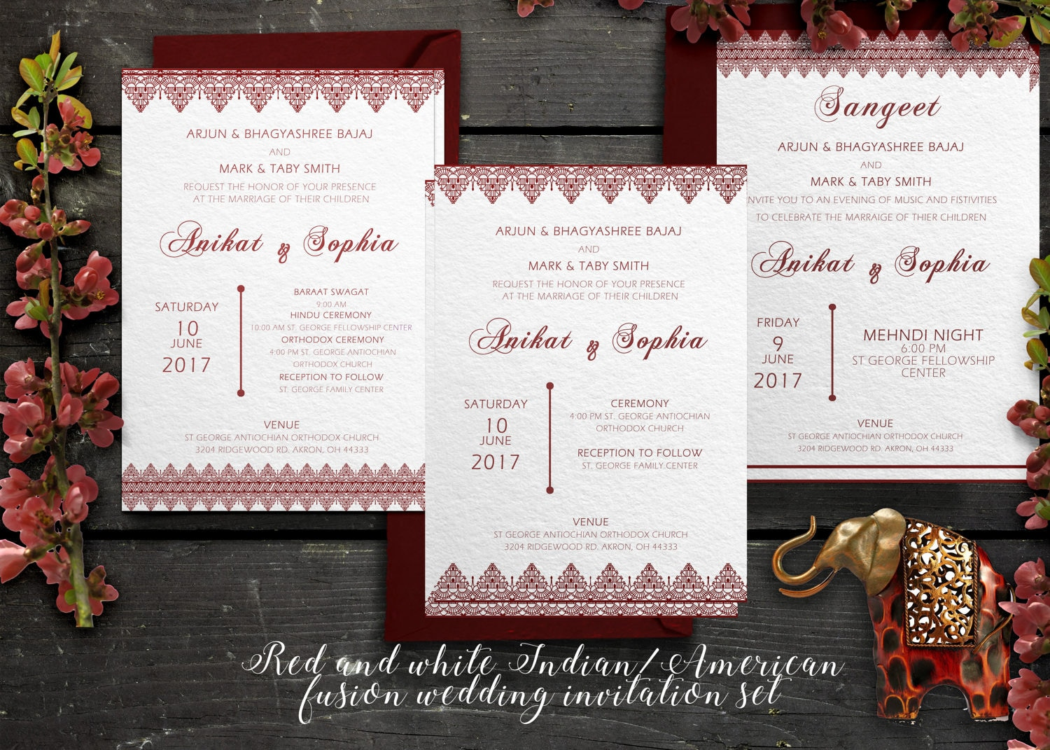 Indian American Fusion Wedding Invitations red and white