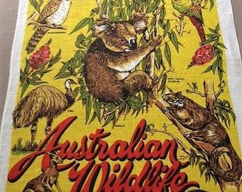 Tea Towel Souvenir Coonabarabran NSW 'Australian Wildlife' 100% Pure Linen Australian Native Wildlife Koala Emu Possum