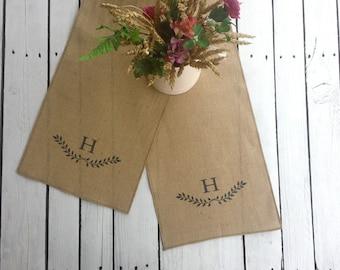 Monogrammed table runner, personalized burlap runner, laurel runner, laurel print, custom letter runner