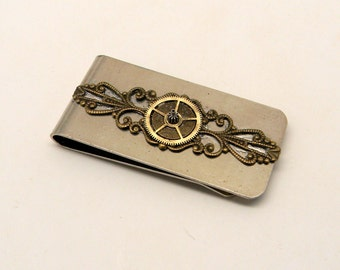 Steampunk jewelry money clip with gears.