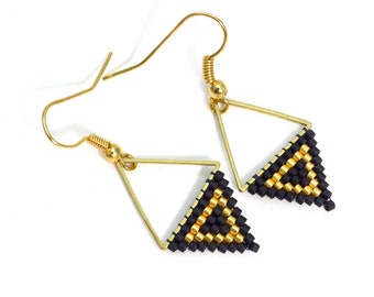 Black and Gold Drop Earrings - Triangle Beaded Earrings - Drop Earrings - Modern Boho Jewelry