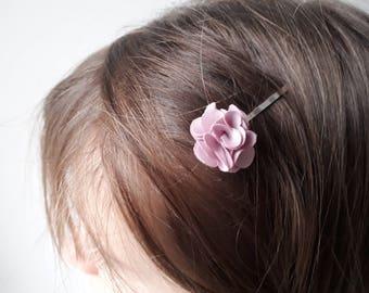 Pink fabric flower hair clip