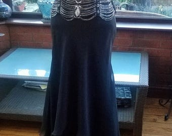 Ballgown sequined beaded linked jewels shaped corset top layered chiffon prom party evening special dress theatre stage  uk size8  usa size4