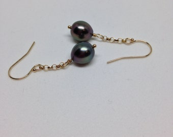 Cultured Tahitian Pearls Earrings, 14k Yellow Gold (PE8)