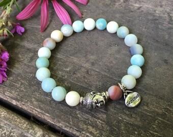 Gratitude Bracelet | Wealth | Amazonite | Wrist Mala | Mala Bracelet | Yoga Bracelet | Mala Beads | Reiki Infused | Crystal Healing