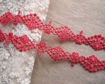 medieval lace, lace, lace, red, shabby chic
