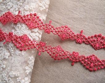 Watermelon red guipure lace trim