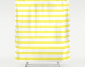 Yellow Striped Shower Curtain, Bath Curtain Yellow, Kids Bathroom Decor, Girls Bath Curtain, Standard or Extra Long, Housewarming Gifts