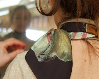 Scarf, Ascot, tie, chocolate brown abstract patterns of colors, and Rose Gold Acetate. Woman scarf