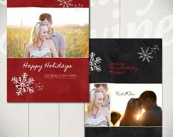 Christmas Card Template: Blackboard Holiday C - 5x7 Holiday Card Template for Photographers