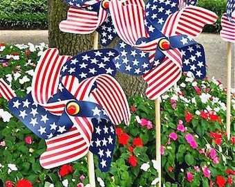Pinwheels Set of 2 Red White and Blue Favors Fourth of July Favors Party Favors Stars and Stripes Pinwheel July 4th Decorations Yard Art